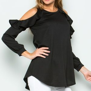Black French Terry Ruffle Cold Shoulder Shirt NWOT